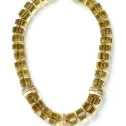 Lemon citrine and grey fossilized walrus ivory trillion necklace, 18 carat recycled yellow gold