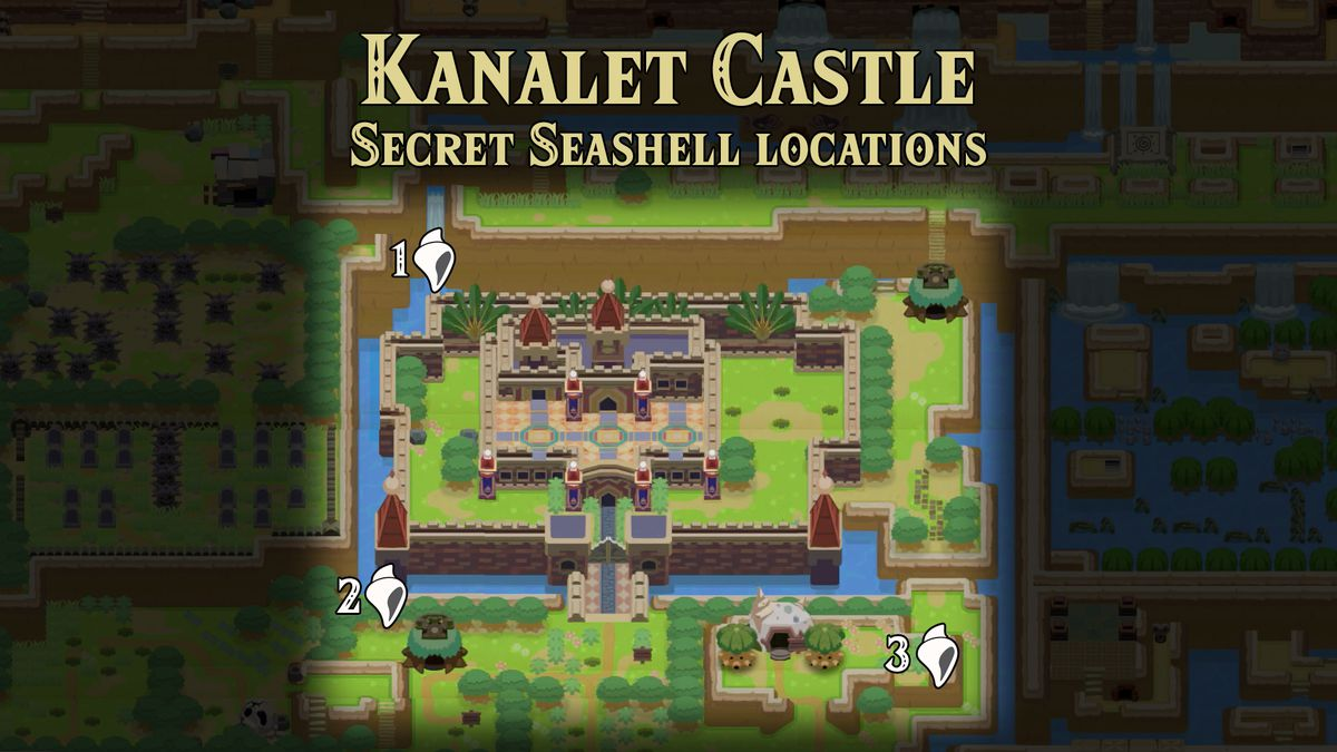 Link's Awakening Kanalet Castle Secret Seashell locations map