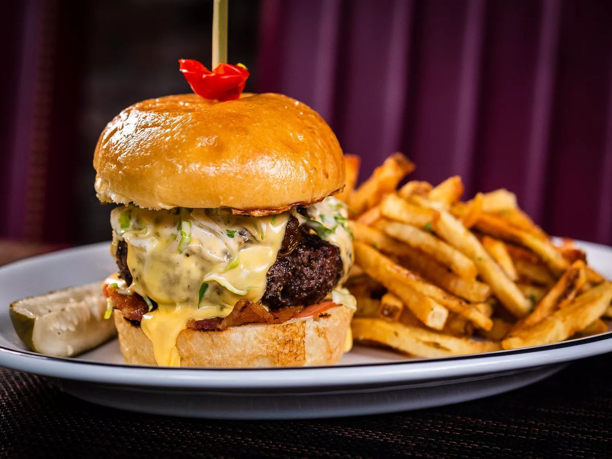 A prime cheeseburger from Oak Steakhouse