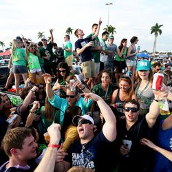 MIAMI GARDENS, FL - JANUARY 07: Fans tailgate before the 2013 Discover BCS National Championship game between the Alabama Crimson Tide and the Notre Dame Fighting Irish at Sun Life Stadium on January 7, 2013 in Miami Gardens, Florida.