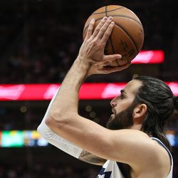Utah Jazz guard Ricky Rubio (3) shoots during the game against the Golden State Warriors at Vivint Arena in Salt Lake City on Tuesday, April 10, 2018.
