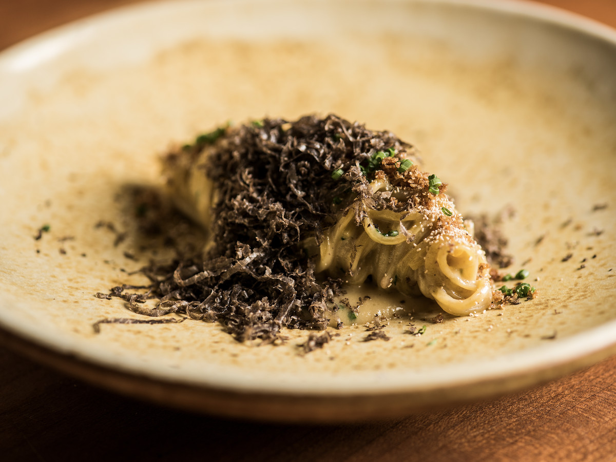 A bowl holding capellini pasta with black truffle shaved atop.