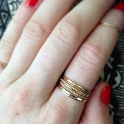 """<a href=""""http://www.instagram.com/catbirdnyc"""">@catbirdnyc</a>: """"Quick Golden Stacking Lesson: 2 Classic Hammered First Knuckle Rings 3 Threadbares 2 Twisted Stackers"""""""