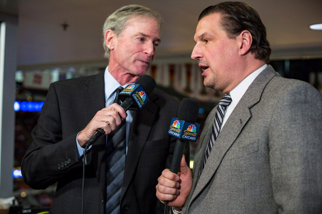 Blackhawks broadcaster Eddie Olczyk, right, with Pat Foley at the United Center. | James Foster/For the Sun-Times