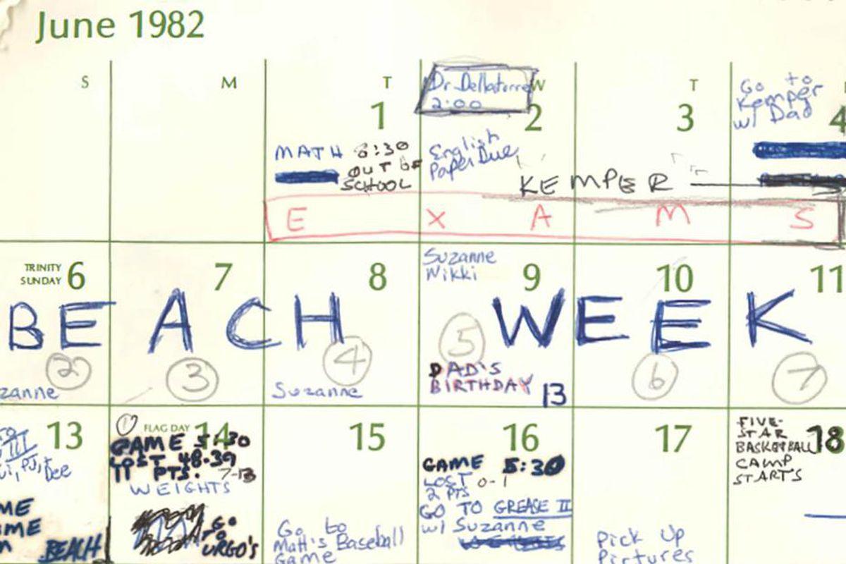 Brett Kavanaugh's June 1982 calendar, as released on Wednesday, September 26.