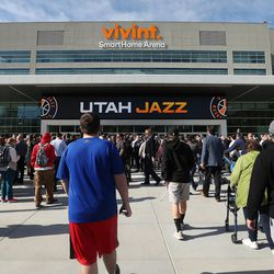 The Miller family unveil the new 14-foot high J-Note statue on the plaza of Vivint Smart Home Arena and let the public  take self-guided  tour of the renovation arena in Salt Lake City on Tuesday, Sept. 26, 2017.