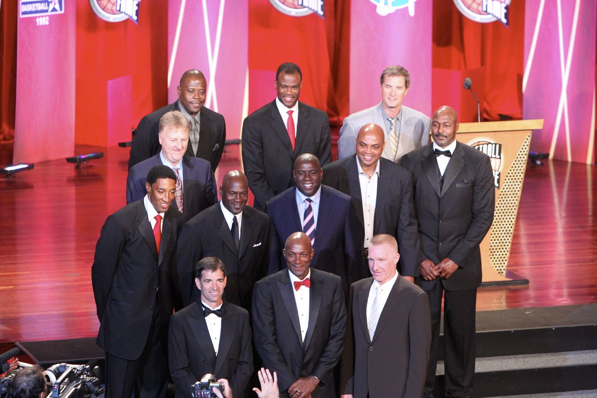 Members of the 1992 USA Olympic Dream Team: Scottie Pippen, Larry Bird, John Stockton, Patrick Ewing, Michael Jordan, David Robinson, Earvin Magic Johnson, Clyde Drexler, Charles Barkley, Christian Laettner, Chris Mullin and Karl Malone poses for a photo during the Basketball Hall of Fame Class of 2010 Induction Ceremony at the Symphony Hall on August 13, 2010 in Springfield, Massachusetts.