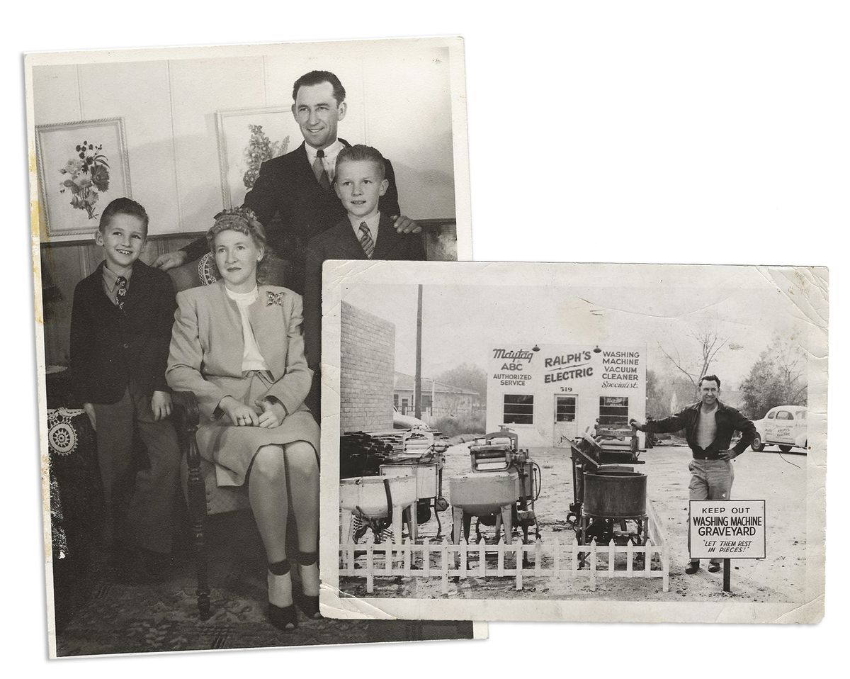"""Two black and white photos. On the left, a family portrait of the Muravez family. Ralph Muravez is on the right of the frame, hand clasped around son Bud's shoulder. Bob is on the left of the framed, smiling next to his seated mother, Edith. In the right photo, Ralph stands next to a short picket fence surrounding old washing machines, behind a sign that reads """"KEEP OUT. WASHING MACHINE GRAVEYARD. LET THEM REST IN PIECES"""""""