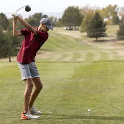 Herriman's Ryker Lind tees off as he competes in the 6A boys state tournament at Davis Park Golf Course in Kaysville on Tuesday, Oct. 5, 2021.