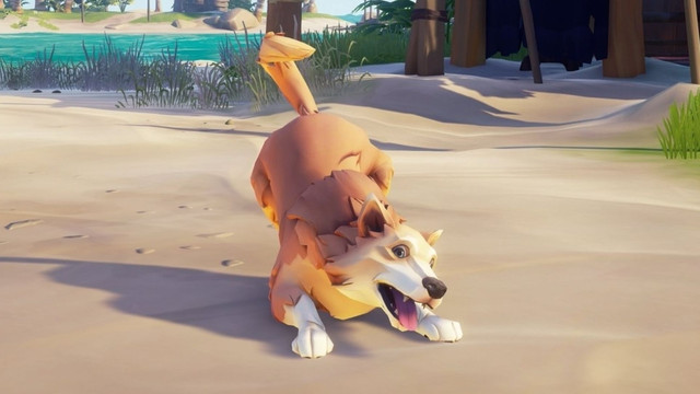 Sea of Thieves - a cute golden retriever dog lunges forward for pets, tongue lolling out of its mouth.