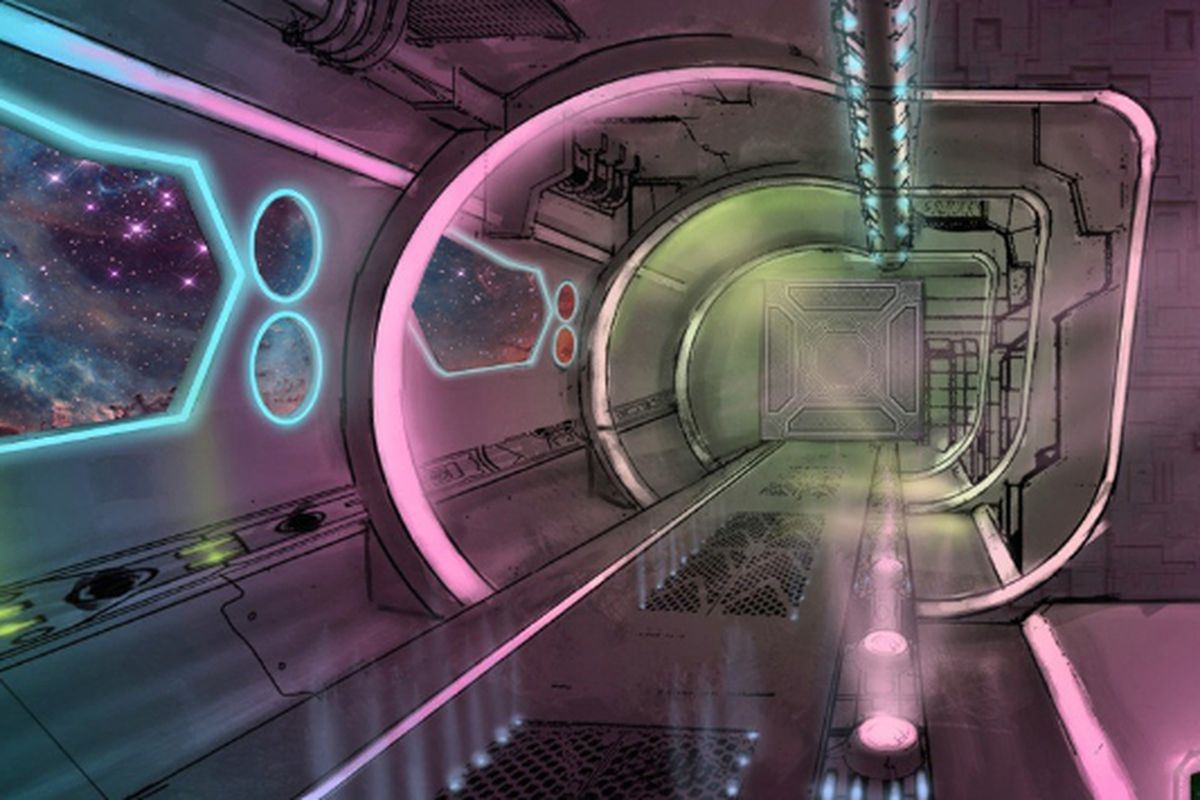 Inside the proposed UFO Hotel