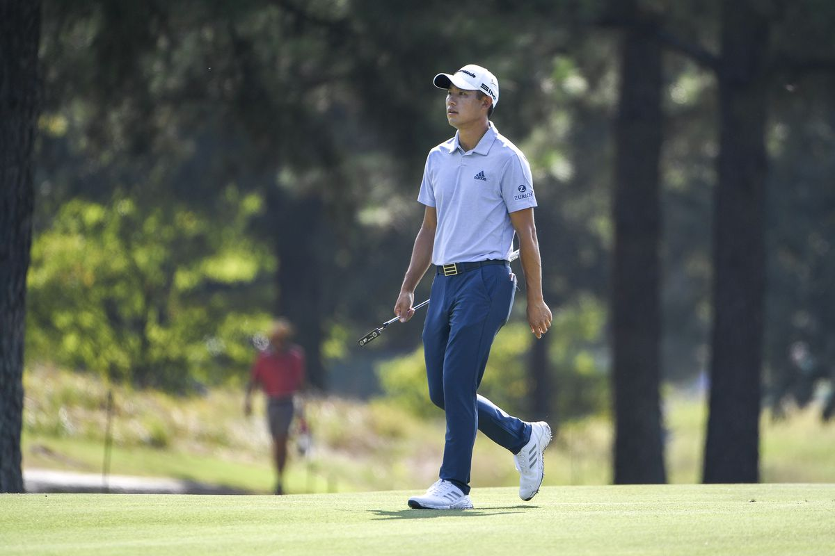 Collin Morikawa at the second hole during the third round of the World Golf Championships-FedEx St. Jude Invitational at TPC Southwind on August 7, 2021 in Memphis, Tennessee.