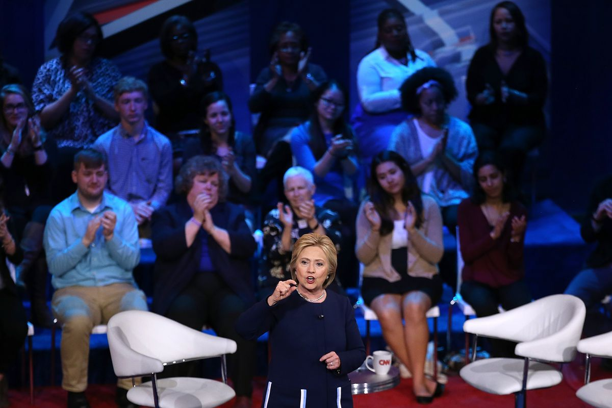 Hillary Clinton at a Democratic town hall in Columbus, Ohio.