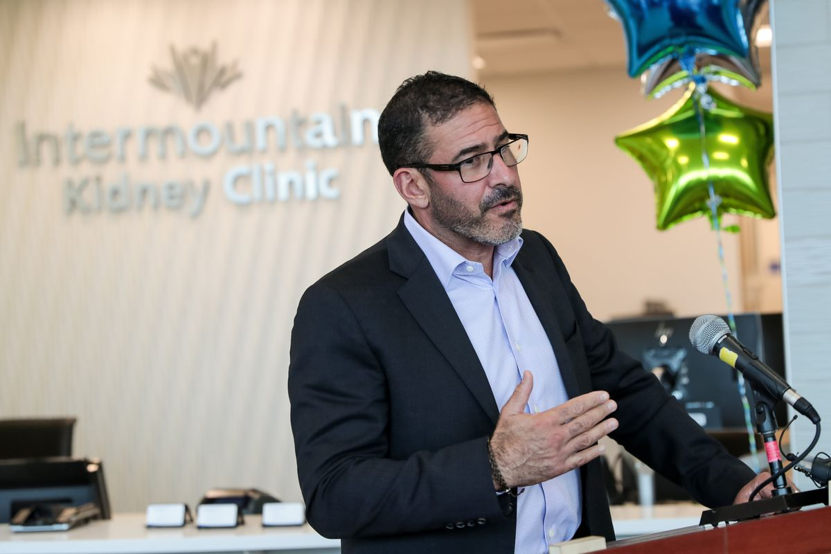 Dr. Marc Harrison, president and CEO of Intermountain Healthcare, speaks at the grand opening of the Intermountain Kidney Care Center at Intermountain Medical Center in Murray on Thursday, Sept. 5, 2019.