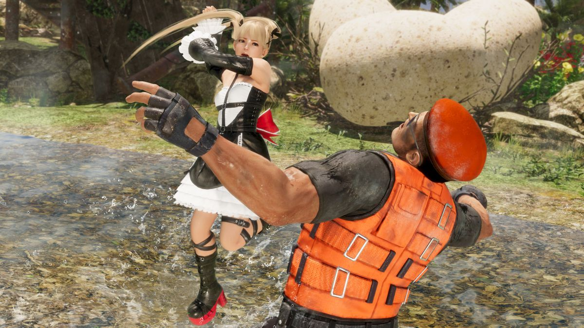 Marie Rose and Bayman fight in a screenshot from Dead or Alive 6