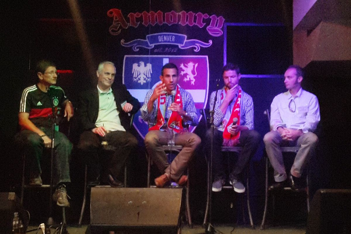 John Meyer, Mark Kiszla, Pablo Mastroeni, Drew Moor, and Daniel Boniface answer questions at the Denver Post's Soccer Night at the Armoury in Denver.