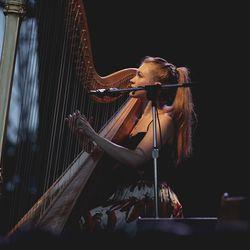 Joanna Newsom in a full skirt. Photo by Erez Avissar.