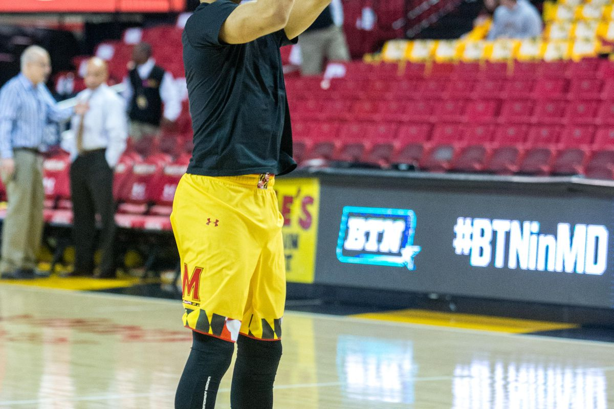 Melo Trimble warms up before Maryland's game against Michigan.