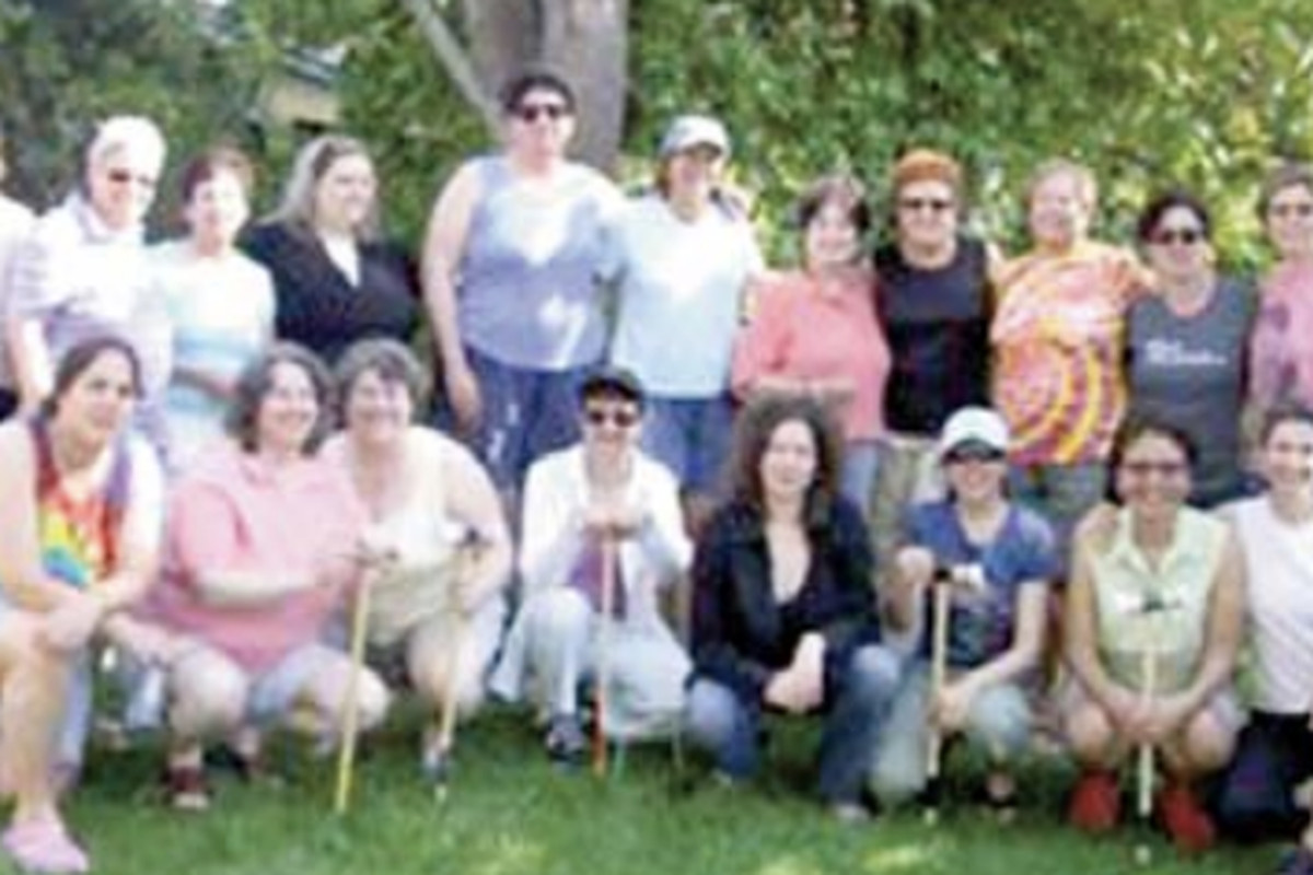 Beth Salamensky (top row, third from left) with other members of Beth Chayim Chadashim at  the synagogue's Women's Summer Croquet Party in 2008.