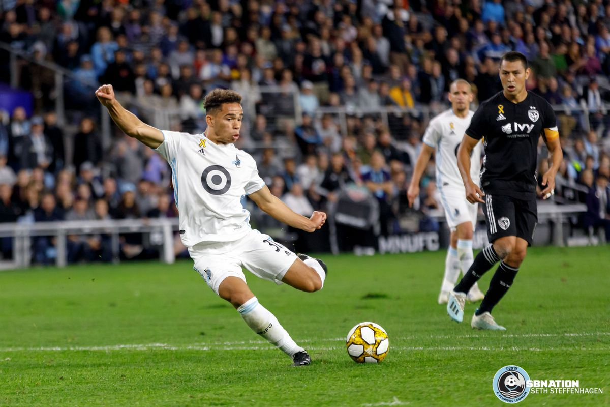 September 25, 2019 - Saint Paul, Minnesota, United States - Minnesota United  midfielder Hassani Dotson (31) scores the game winning goal during the match against Sporting KC at Allianz Field.