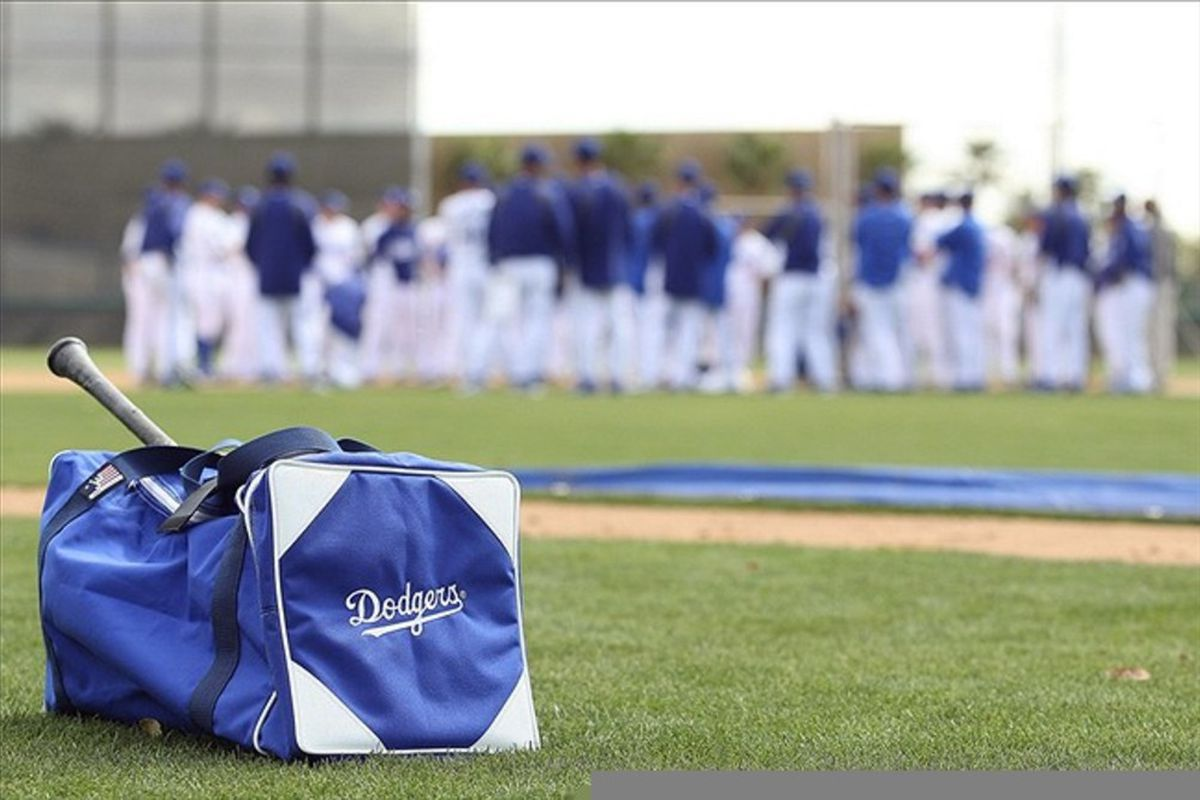 Feb 28, 2012; Glendale, AZ, USA; A detailed view of a Los Angeles Dodgers players bag during a workout at Camelback Ranch.  Mandatory Credit: Jake Roth-US PRESSWIRE