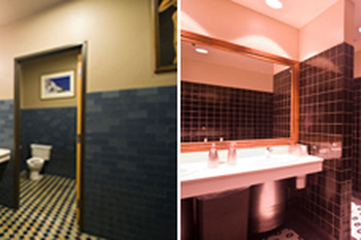 Bathrooms at Athenian Bar and Grill (left) / Bartlett's (right)