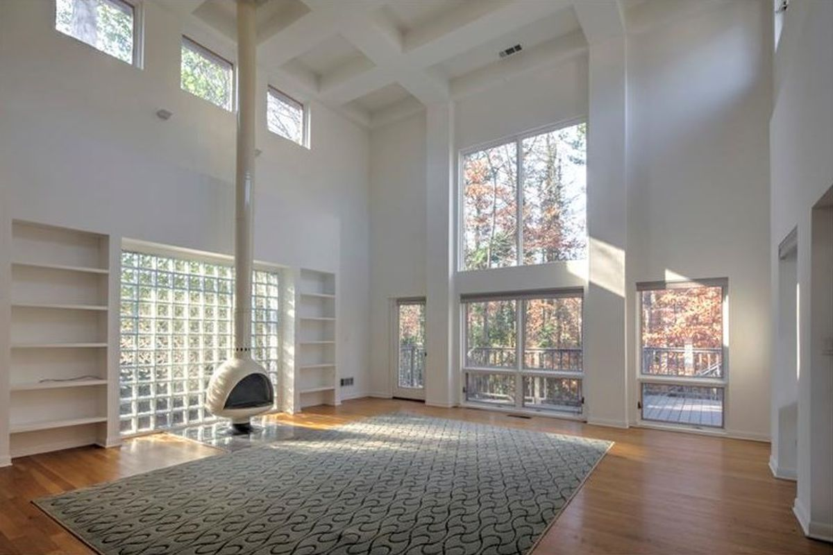 The living room of a 1980s modern house in Atlanta.