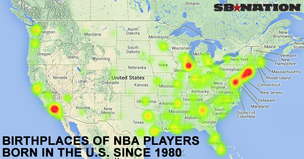 This Map Shows Which States Produce The Most NBA Players - Washington dc on map of us