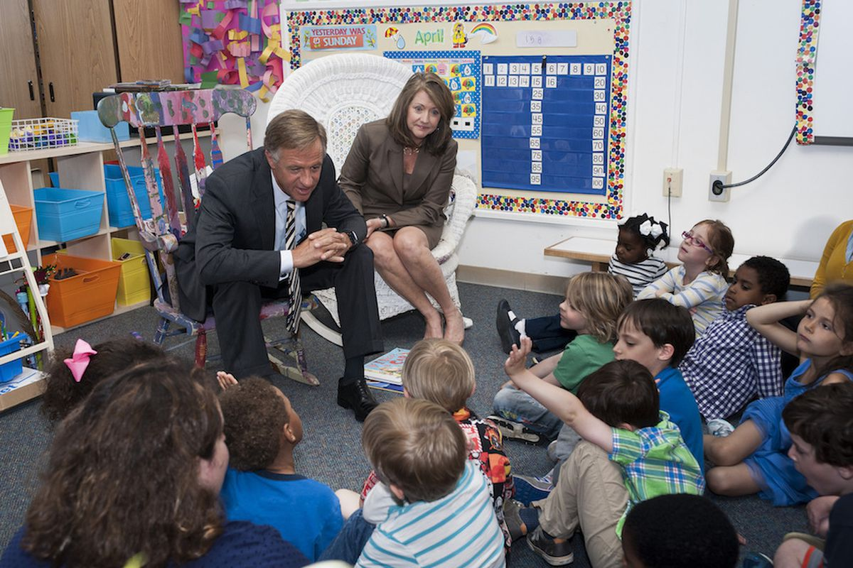 Gov. Bill Haslam and first lady Chrissy Haslam read to children in 2014 at the University of Memphis Child Care Center.