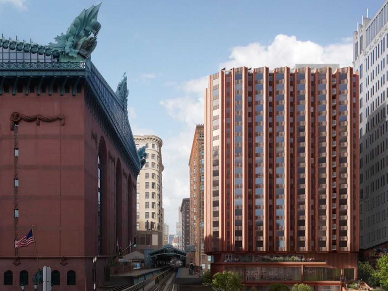 The 20-story building proposed by The Community Builders and Studio Gang is on the right in this rendering. On the left is the Harold Washington Library.