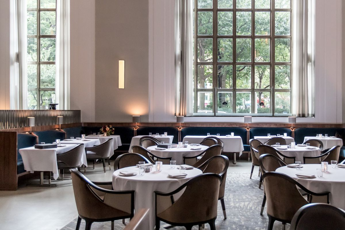 Natural light floods the dining room at Eleven Madison Park, which sits empty before service