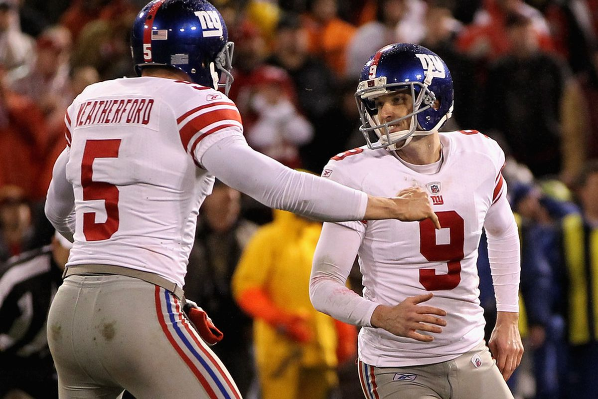 Punter Steve Weatherford, left, and placekicker Lawrence Tynes, right, were part of an improved special teams group for the Giants last season. (Photo by Jamie Squire/Getty Images)
