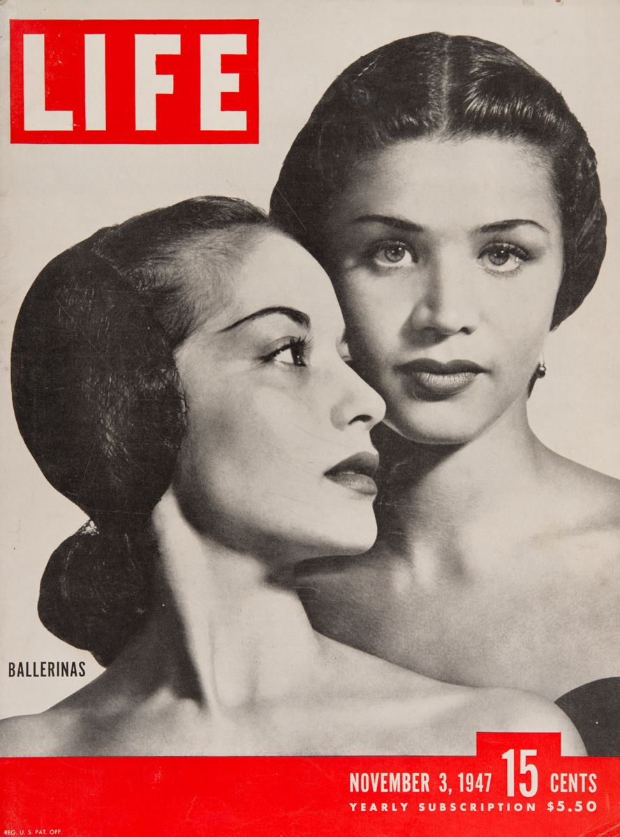 Ballerinas Ruth Ann Koesun (seen in profile) and Melissa Hayden on the cover of Life in November 1947.