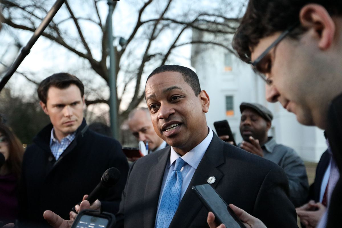 Virginia Lieutenant Governor Justin Fairfax addresses the media about a sexual assault allegation from 2004 outside of the capital building in downtown Richmond on February 4, 2019