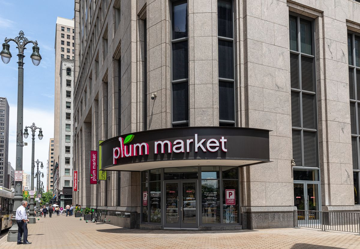 exterior sign on the corner for plum market