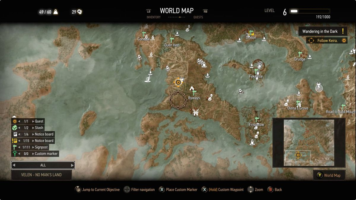 The Witcher 3 Wandering in the Dark map location