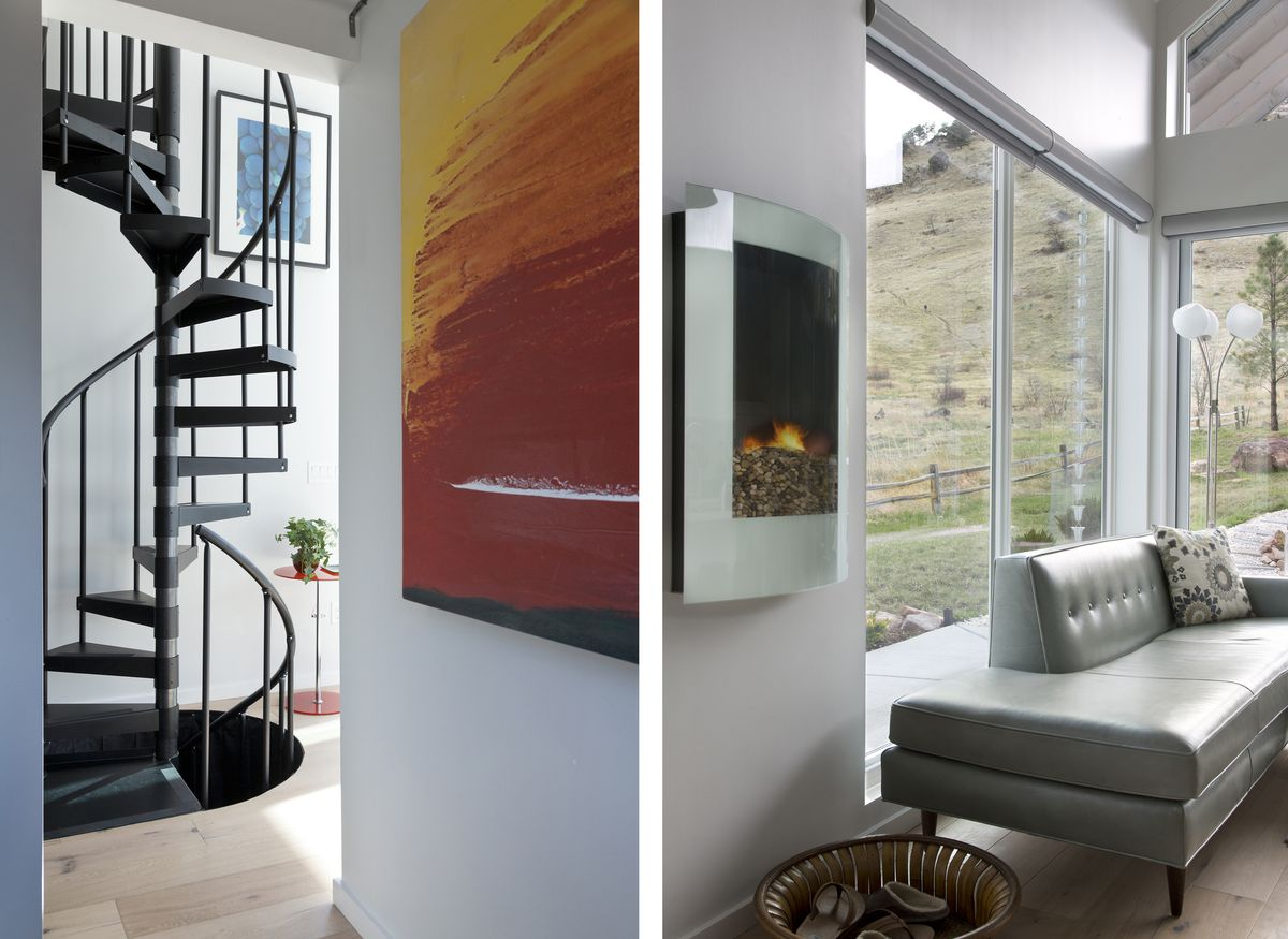 A spiral, metal staircase leads to the loft. A glass enclosed, electric, wall-hung fire box that burns butane hangs in the living room. A small sectional with a midcentury style maximizes seating in the living room.