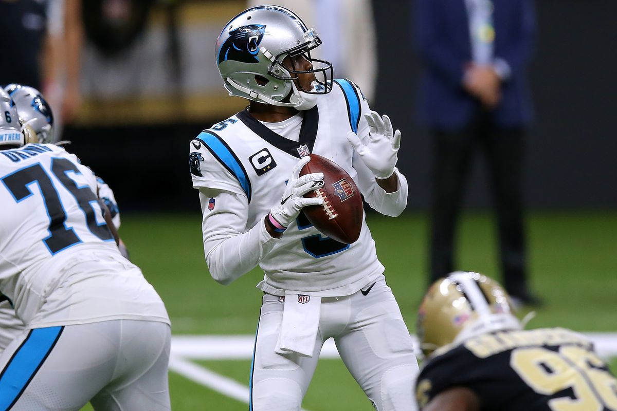 Teddy Bridgewater of the Carolina Panthers throws the ball against the New Orleans Saints during a game at the Mercedes-Benz Superdome on October 25, 2020 in New Orleans, Louisiana.