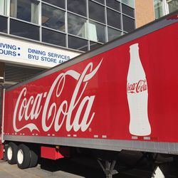 A Coke truck pulls into the Wilkinson Student Center loading dock on Brigham Young University's campus in Provo on Thursday, Sept. 22, 2017.