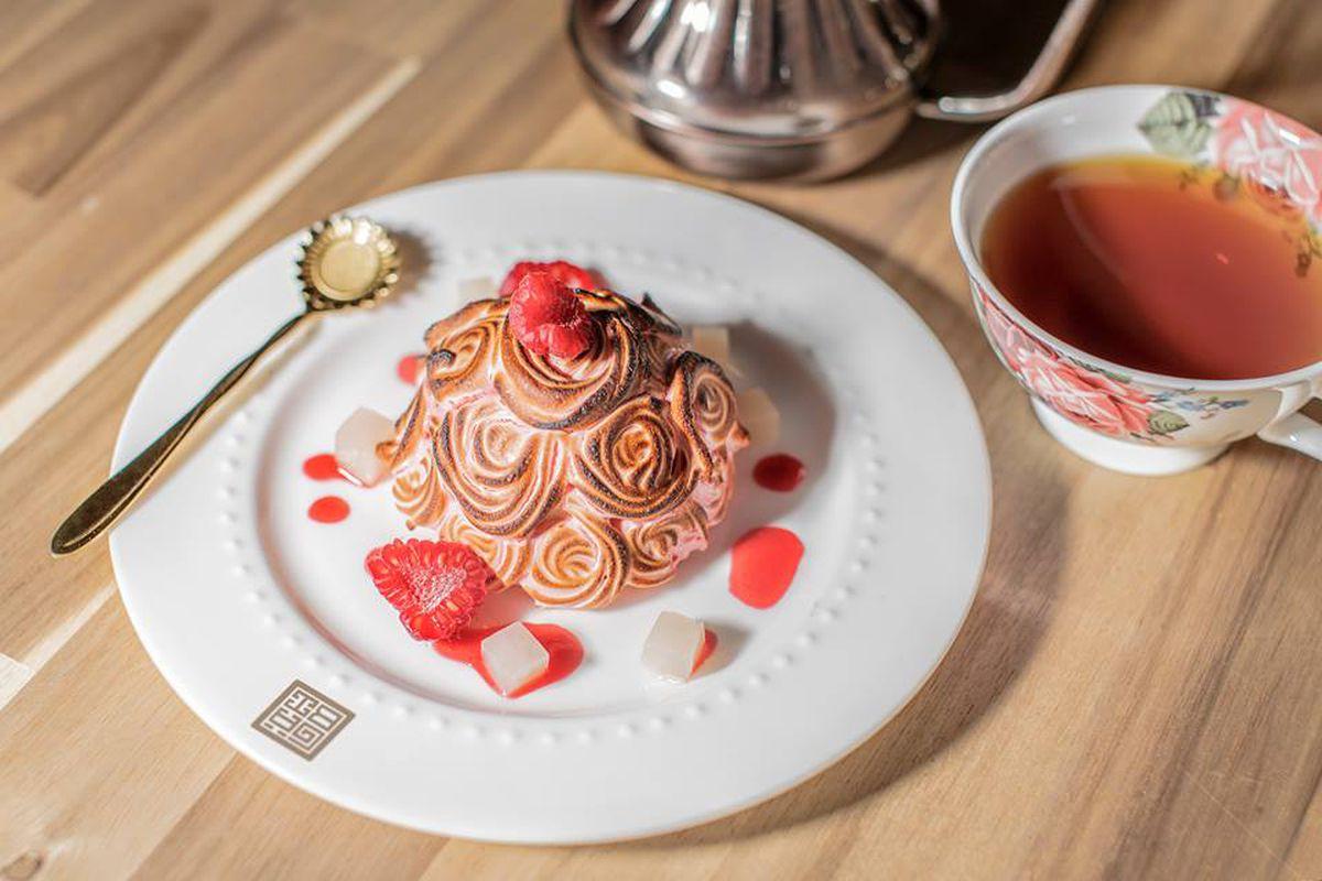 Raspberry lychee cake at Gabi Coffee & Bakery