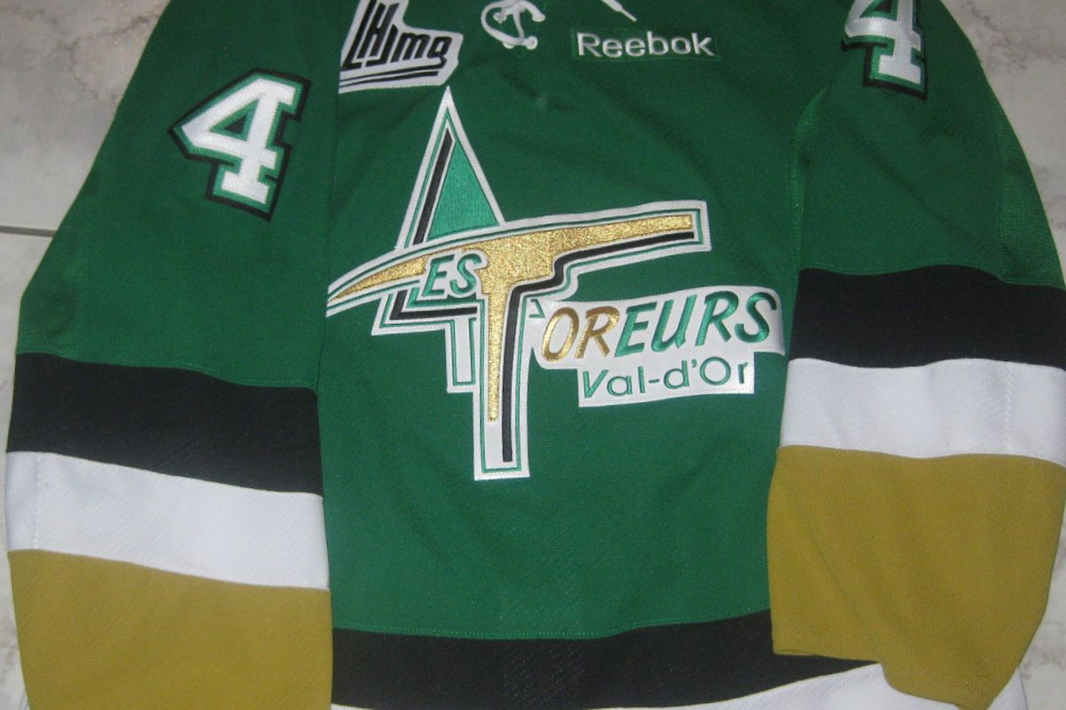 2011-12 game worn jersey of Yan Dumontier, a 19 year old defenseman who played for the Val-D'Or Foreurs of the Quebec Major Junior Hockey League. Blues prospect Francois Tremblay currently tends goal for Val-D'Or.