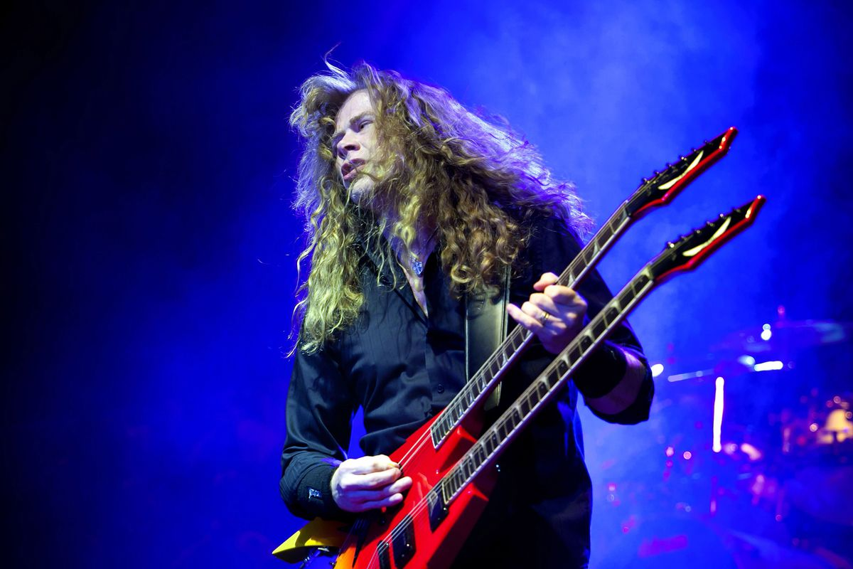 FILE - In a Friday, April 8, 2011 file photo, singer and guitarist Dave Mustaine of the American metal band Megadeth performs during their concert in the Budapest Sports Arena in Budapest, Hungary. Megadeth's Dave Mustaine announced on social media Monday