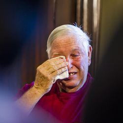 Brent Frisby gets emotional after he states that his wife died this summer while waiting for Medicaid expansion, during a press conference at the state Capitol in Salt Lake City on Tuesday, Aug. 18, 2015.