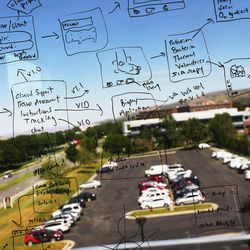 Schematics written on a window at the headquarters of PolarityTE in Salt Lake City are pictured on Friday, June 2, 2017. The schematics are being used to develop a mobile app to aid doctors with patient treatment.