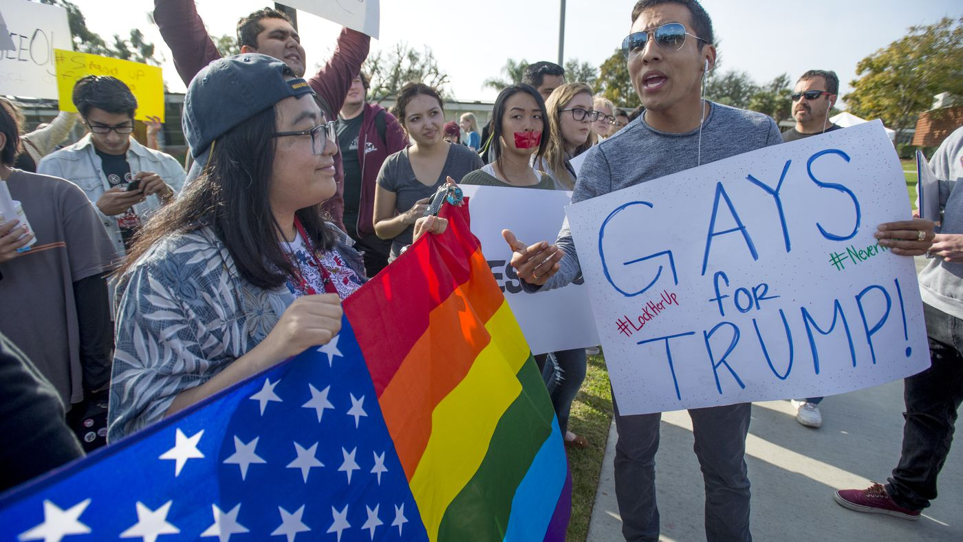 Gays For Trump: grupo de LGBTs conservadores apoia Trump mesmo que este seja contra seus direitos. (Foto: Jeff Gritchen/Digital First Media/Orange County Register via Getty Images)