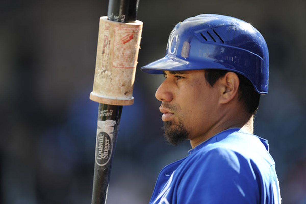 SURPISE, AZ - FEBRUARY 27: Kila Ka'aihue #25 of the Kansas City Royals looks on uring a spring training game against the Texas Rangers at Surprise Stadium on February 27, 2011 in Surprise, Arizona. (Photo by Rob Tringali/Getty Images)
