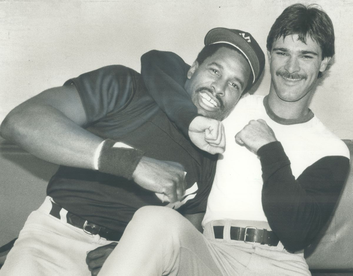 Friendly rivalry: Yankee stars outfielder Dave Winfield; left; and first baseman Don Mattingly ham i