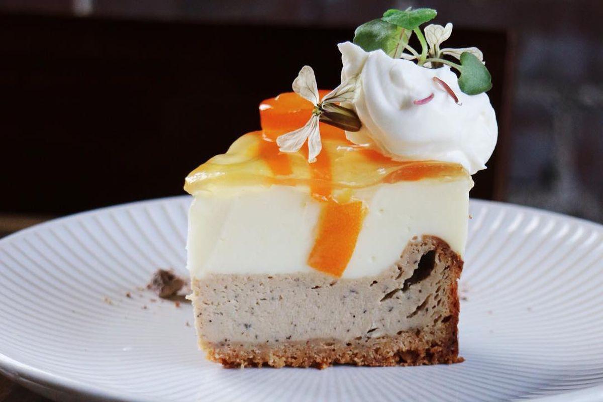 Kumquat oolong cheesecake with kumquat jam, citrus jelly, and yuzu cream at Brush Sushi