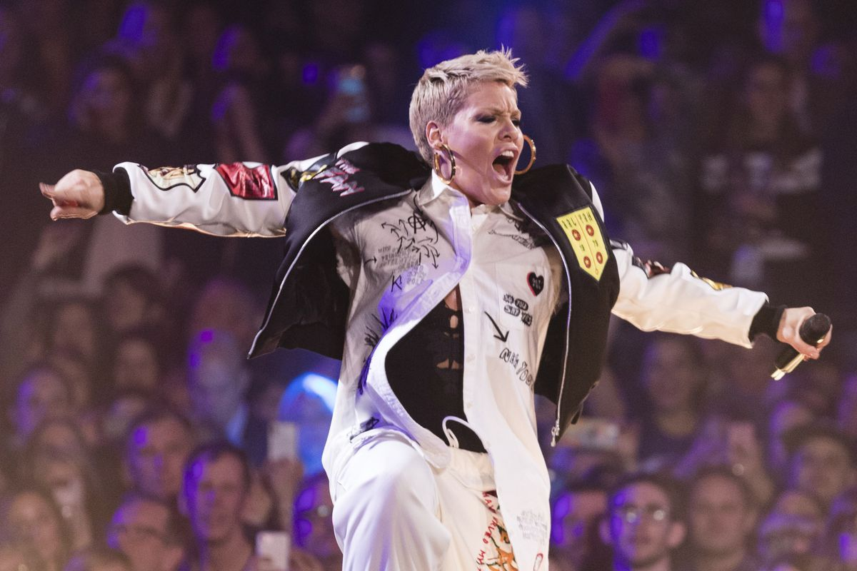 Pink performs at The Armory on Feb. 2, 2018, in Minneapolis.