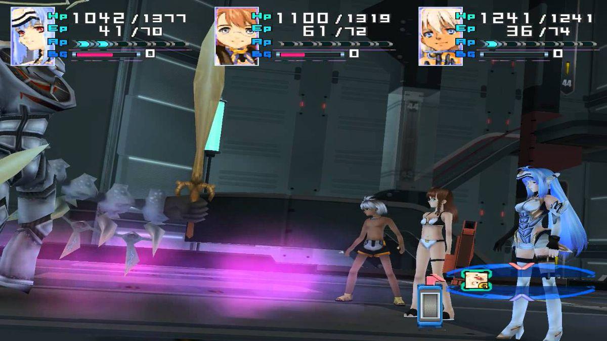 A battle in Xenosaga Episode I.